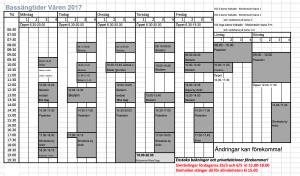 Delphinenbadets Bassängschema våren 2017