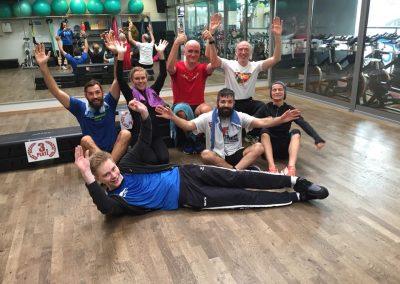 Geschafft aber glücklich - die Teilnehmer des Indoor Triathlons in Sindelfingen